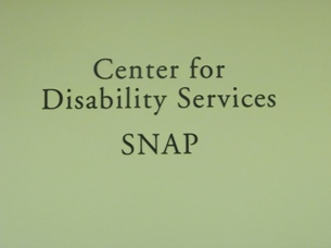 Image of Department Name on the wall. That is, Center for Disability Services SNAP