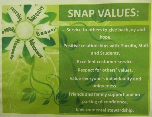 Images of SNAP Values: Service to other to give back joy and hope.